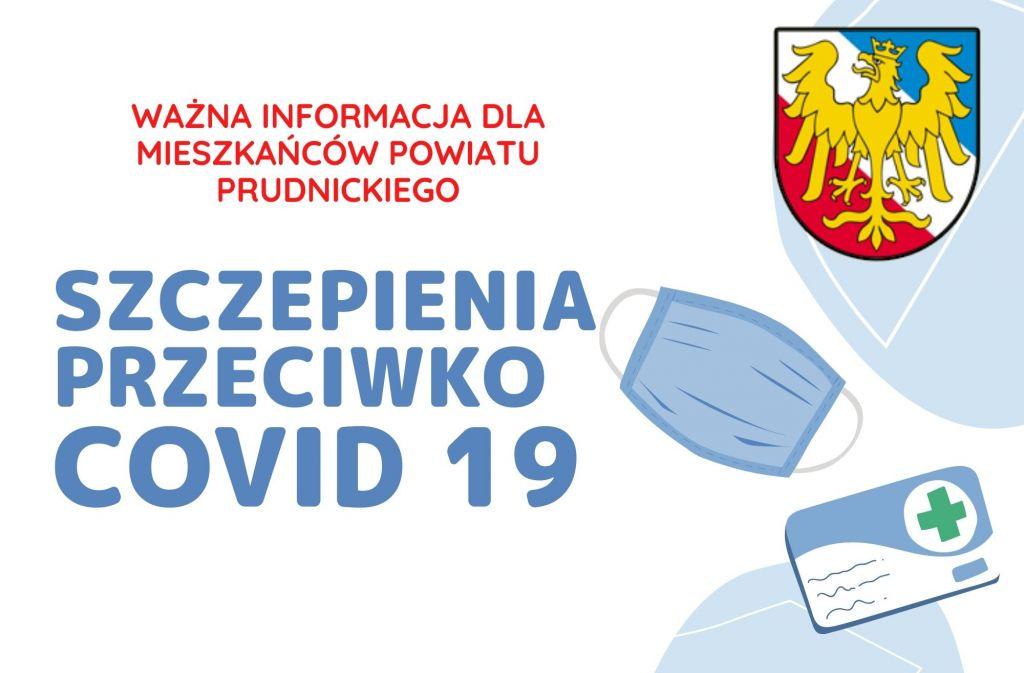"""Baner z napisem """"Ważna informacja dla mieszkańców Powiatu Prudnickiego. Szczepienia przeciwko COVID 19"""""""