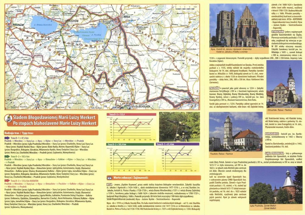 """zdjęcie przedstawia mapy ścieżek rowerowych i tras turystycznych """"Śladem Błogosławionej Marii Luizy Merkert"""""""