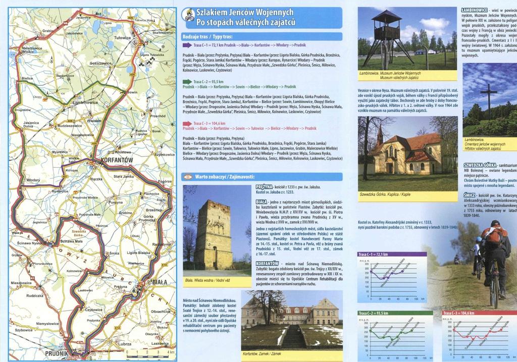 """zdjęcie przedstawia mapy ścieżek rowerowych i tras turystycznych """"Szlakiem Jeńców Wojennych"""""""