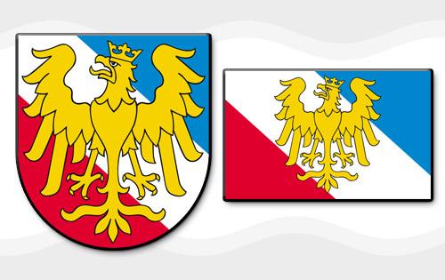 Zdjęcie przedstawiające herb i flagę powiatu prudnickiego