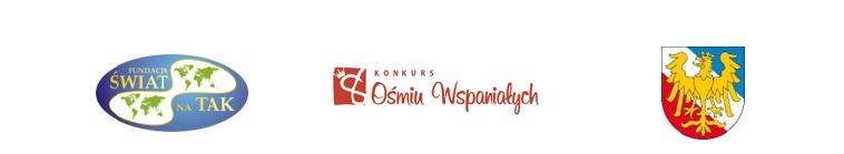 Zdjęcie przedstawiające logo 8 wspaniałych, Świat na tak oraz herb Powiatu Prudnickiego