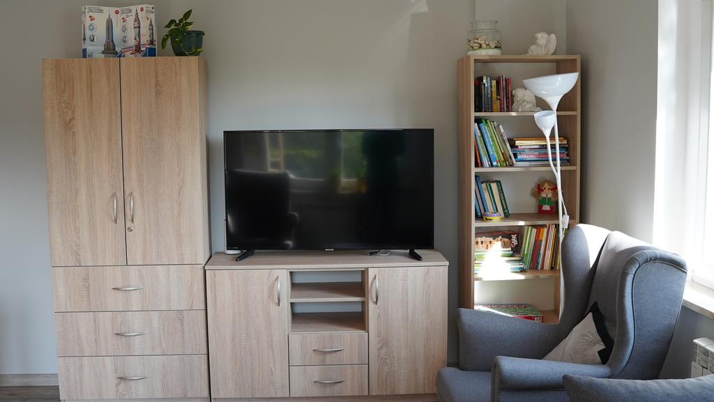 Pokój dzienny z telewizorem, grami planszowymi oraz książkami